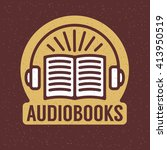 one thin line  flat audio books ... | Shutterstock .eps vector #413950519