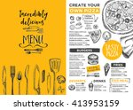 menu placemat food restaurant... | Shutterstock .eps vector #413953159
