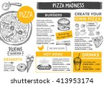 menu placemat food restaurant... | Shutterstock .eps vector #413953174