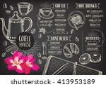 coffee restaurant brochure... | Shutterstock .eps vector #413953189