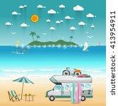 summer beach camping island... | Shutterstock .eps vector #413954911