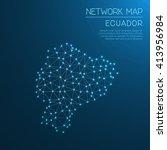 ecuador network map. abstract...   Shutterstock .eps vector #413956984