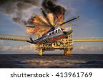 helicopter crashes into the sea ... | Shutterstock . vector #413961769