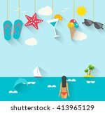 flat summer holidays  vacation... | Shutterstock .eps vector #413965129