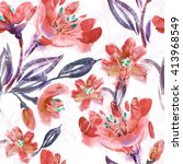 watercolor red flowers seamless ... | Shutterstock . vector #413968549