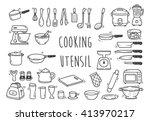 Stock vector set of kitchen utensil doodle 413970217