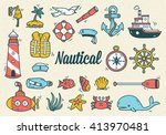set of nautical doodle | Shutterstock .eps vector #413970481