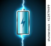 fully charged blue battery and... | Shutterstock .eps vector #413979499
