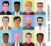 low polygon people icons | Shutterstock .eps vector #413985997