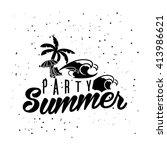 retro summer design poster.... | Shutterstock .eps vector #413986621