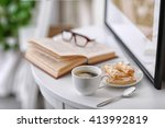 white cup of the coffee on the... | Shutterstock . vector #413992819