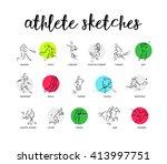 hand drawn vector sport athlete ... | Shutterstock .eps vector #413997751