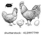 Vector Chicken Breeding Hand...