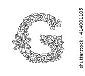 floral alphabet letter coloring ... | Shutterstock .eps vector #414001105