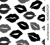 black kiss lips pattern... | Shutterstock . vector #414002929