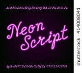 neon script hand drawn alphabet ... | Shutterstock .eps vector #414008041