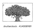 painted tree with leaves in the ... | Shutterstock .eps vector #414008989