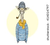 giraffe in frock smoking... | Shutterstock .eps vector #414014797