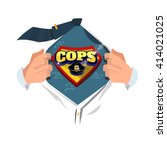 "man open shirt to show ""cops... | Shutterstock .eps vector #414021025"