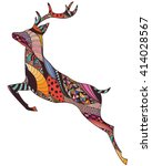 Abstract Jumping Deer With...