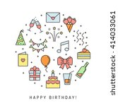 happy birthday multicolored... | Shutterstock .eps vector #414033061