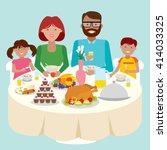 happy caucasian family dinner... | Shutterstock .eps vector #414033325