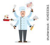 multitasking chef with six... | Shutterstock .eps vector #414033361