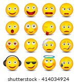 emoticons set on the white... | Shutterstock .eps vector #414034924