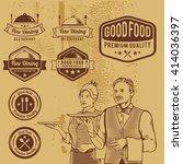 premium vintage food badges... | Shutterstock .eps vector #414036397