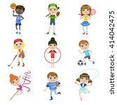 kids doing sports set of simple ... | Shutterstock .eps vector #414042475