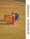 "SEVILLE - APRIL 30:  Bullfighter David Fandila ""El Fandi"" fights for a sold out crowd at the Plaza de Toros de Sevilla April 30, 2009 in Seville, Spain. - stock photo"