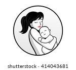 mom and baby image circle... | Shutterstock .eps vector #414043681