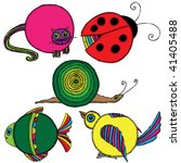 Set Of Rounded Colored Animals