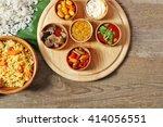 boiled and fried rice with... | Shutterstock . vector #414056551