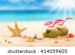 summer coconut cocktail on... | Shutterstock . vector #414059605