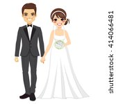 beautiful young bride and groom ... | Shutterstock .eps vector #414066481