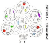 set of line icons of online... | Shutterstock .eps vector #414066559