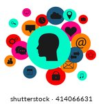 flat human head vector with...