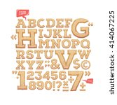 sculpted alphabet. stone carved ... | Shutterstock .eps vector #414067225