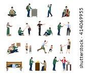 homeless people icons set... | Shutterstock .eps vector #414069955