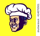 vector chef face with cook hat... | Shutterstock .eps vector #414070501