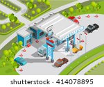 isometric poster of gas station ... | Shutterstock .eps vector #414078895