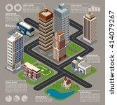 isometric city infographics...   Shutterstock .eps vector #414079267