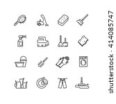 cleaning line icons. brush ... | Shutterstock .eps vector #414085747