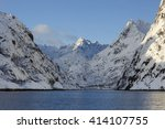 view of trollfjord with snow... | Shutterstock . vector #414107755