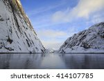 view of trollfjord with snow... | Shutterstock . vector #414107785