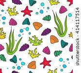 vector cartoon doodle seamless... | Shutterstock .eps vector #414117514