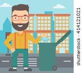 man throwing trash. | Shutterstock .eps vector #414121021