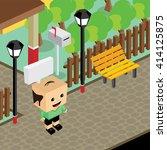cartoon life isometric | Shutterstock .eps vector #414125875