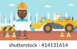 engineer holding a blueprint. | Shutterstock .eps vector #414131614